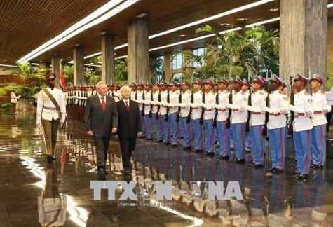 Tổng Bí thư Nguyễn Phú Trọng hội đàm với Chủ tịch Cuba Raul Castro - Ảnh 1.