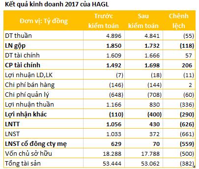 Lợi nhuận 2017 của Hoàng Anh Gia Lai và HAGL Agrico giảm đáng kể sau kiểm toán - Ảnh 1.
