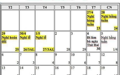 Đề xuất hoán đổi ngày nghỉ Tết Dương lịch, nghỉ Lễ 30-4 và 1-5 năm 2019 - Ảnh 1.