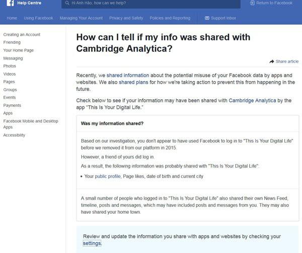 Hướng dẫn kiểm tra thông tin cá nhân trên Facebook bị phát tán trong vụ Cambridge Analytica - Ảnh 1.