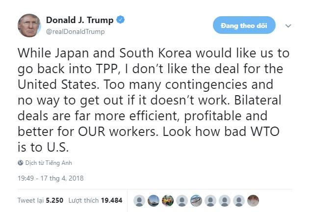 Tổng thống Trump tuyên bố không thích TPP, khả năng Mỹ trở lại vẫn xa vời - Ảnh 1.
