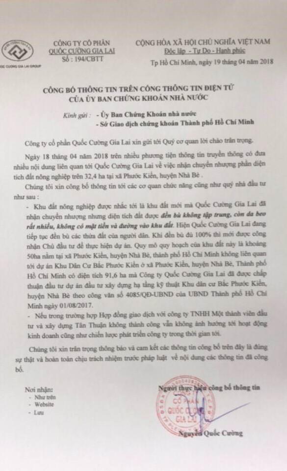 Quốc Cường Gia Lai chính thức lên tiếng về vụ mua hơn 32ha đất Phước Kiển giá bèo từ Công ty Tân Thuận - Ảnh 1.
