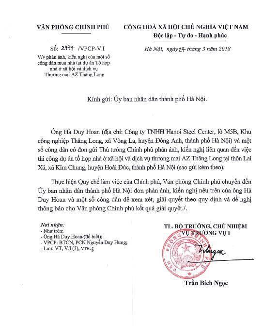 Dự án Bright City: Chính phủ đề nghị UBND TP Hà Nội giải quyết kiến nghị của người mua nhà - Ảnh 1.