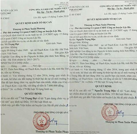 Vòi tiền bôi trơn đền bù Formosa, 2 cán bộ thôn ở Hà Tĩnh bị khởi tố - Ảnh 1.