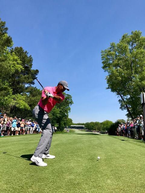 Khán giả vây kín sân Quail Hollow xem Tiger Woods đánh tập - Ảnh 4.