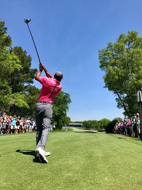 Khán giả vây kín sân Quail Hollow xem Tiger Woods đánh tập - Ảnh 7.
