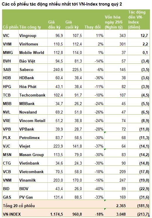 Những tội đồ làm VN-Index mất 214 điểm, giảm sâu nhất thế giới quý 2: Nhóm ngân hàng dẫn đầu - Ảnh 1.