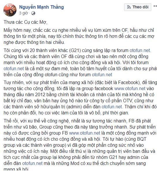 Diễn đàn ô tô xe máy hàng đầu Việt Nam Otofun đang bị dàn lãnh đạo cấu xé thế nào? - Ảnh 3.