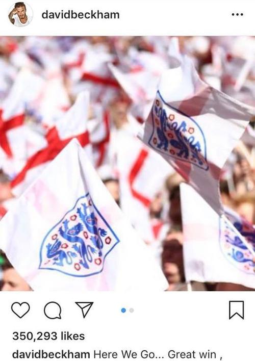 Sức hút khủng khiếp của David Beckham: 30 phút đăng tin chúc mừng tuyển Anh có 350.000 like, 3000 bình luận - Ảnh 1.