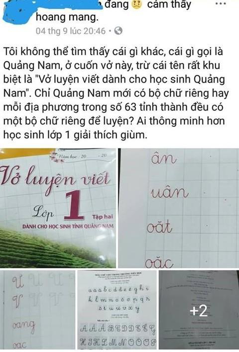 Xôn xao về Vở luyện viết dành cho học sinh tỉnh Quảng Nam - Ảnh 1.