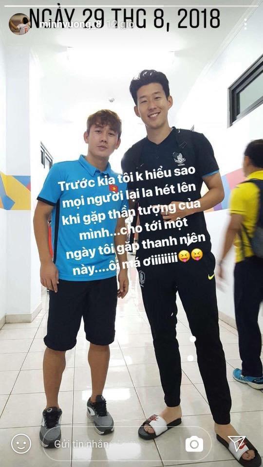 Hai tuần sau ASIAD 2018, Minh Vương khoe ảnh chụp cùng thần tượng Son Heung-min - Ảnh 1.