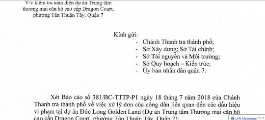 TP HCM kiểm tra toàn diện dự án Đức Long Golden Land ở quận 7 - Ảnh 1.