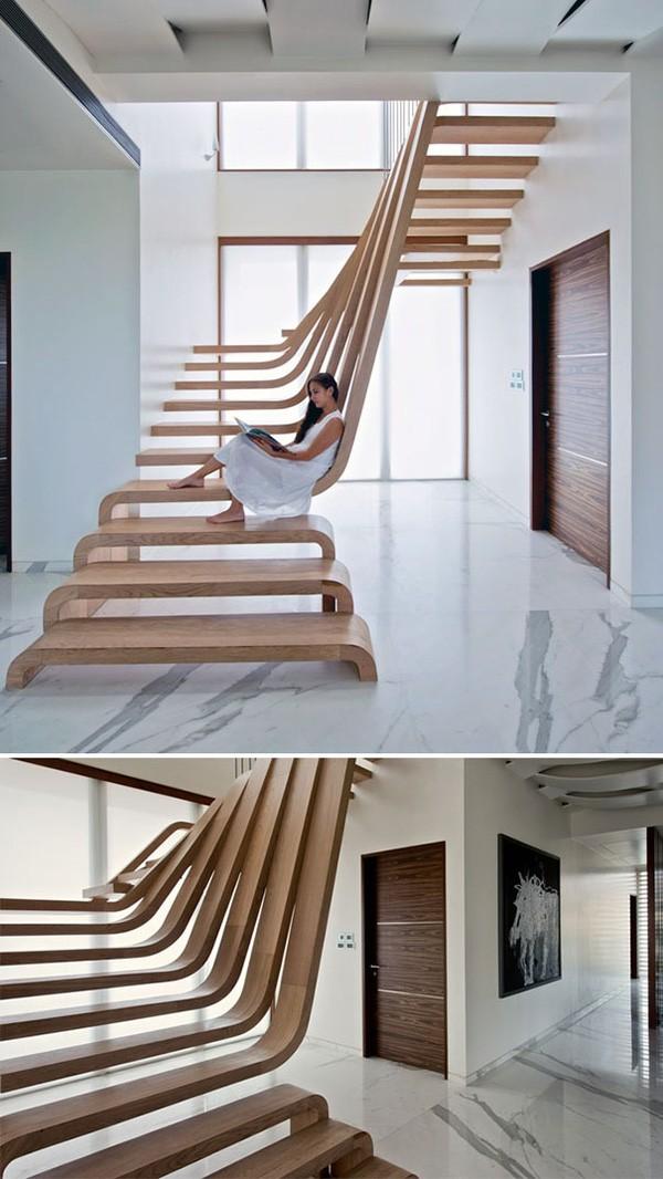 Tròn mắt với những mẫu cầu thang gỗ cực kỳ sáng tạo và độc đáo - Ảnh 1.
