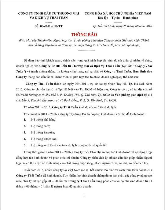 Mập mờ việc Công ty Thái Tuấn của Vũ Đức Tĩnh mời người góp vốn đến nhận lãi - Ảnh 1.