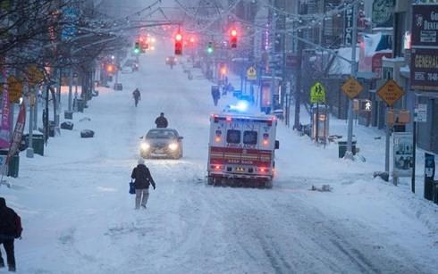 Thành phố New York chìm trong tuyết trắng. Ảnh: AP