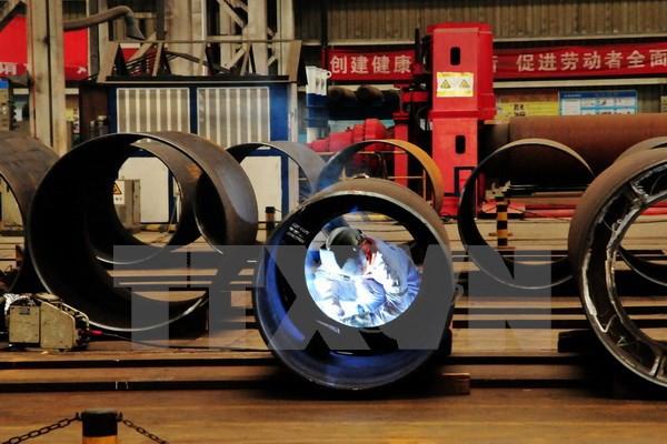 Một nhà máy sản xuất thép của Trung Quốc ở thành phố Thao Đảo, tỉnh Sơn Đông, Trung Quốc. (Nguồn: AFP/TTXVN)