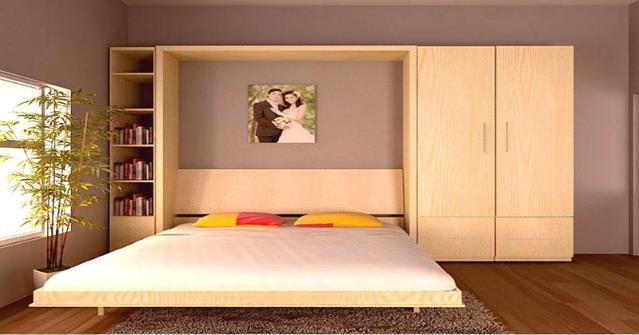 Với phòng ngủ nhỏ bạn cũng có thể sử dụng loại tủ đa năng này. Nó vừa có vai trò là giường ngủ, vừa là tủ đựng quần áo và cũng là tủ sách, tủ đựng đồ thuận tiện. Ban ngày, chiếc giường ngủ có thể được gấp gọn dựng đứng như một bức tường.