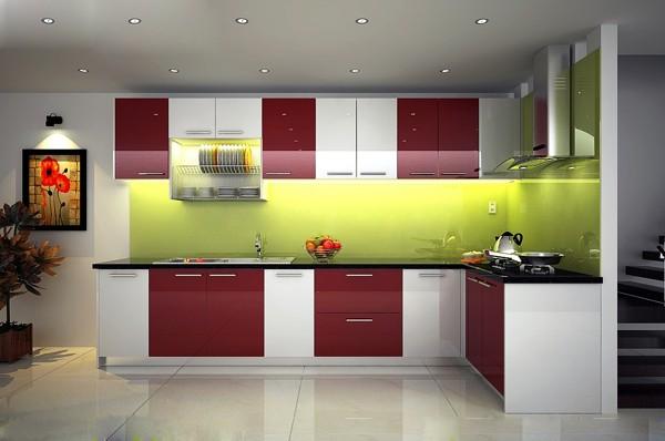 Tủ bếp nhựa đẹp còn có thể sơn theo màu yêu thích của khách hàng.