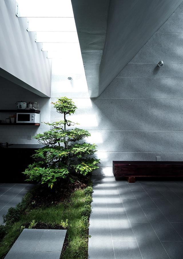 Bước vào ngôi nhà là không gian phòng khách, bếp, bàn ăn. Sâu bên trong là khu vệ sinh, nhà tắm và không gian nghỉ ngơi của chủ nhà.