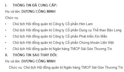 Thông báo của Sacombank về chức vụ của ông Dương Công Minh