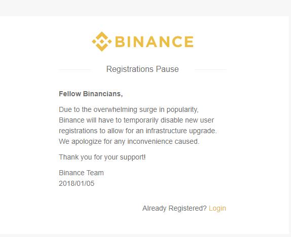 Thông báo ngưng tiếp nhận đăng ký tài khoản mới trên Binance