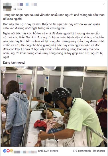 Tình người giữa đau thương: Anh xe ôm ở Long An bỏ hết công việc, bồng bế từng nạn nhân lên xe cấp cứu vào bệnh viện - Ảnh 3.
