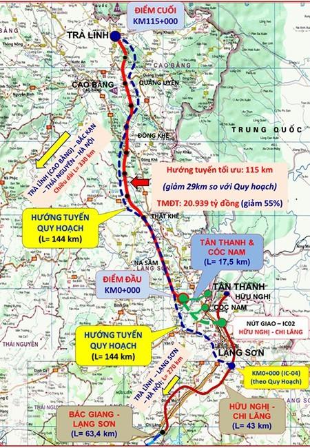 Cao tốc Đồng Đăng - Trà Lĩnh: Giảm 29km và gần 20.000 tỉ đồng vốn đầu tư - Ảnh 1.