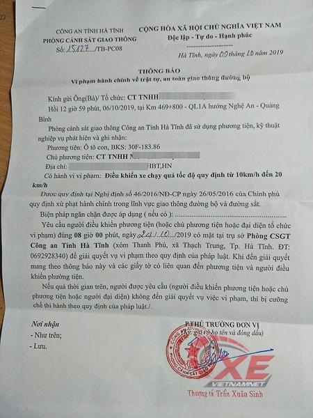 Chủ ô tô tá hỏa vì ngồi nhà Hà Nội vẫn bị bắn tốc độ ở Hà Tĩnh - Ảnh 2.