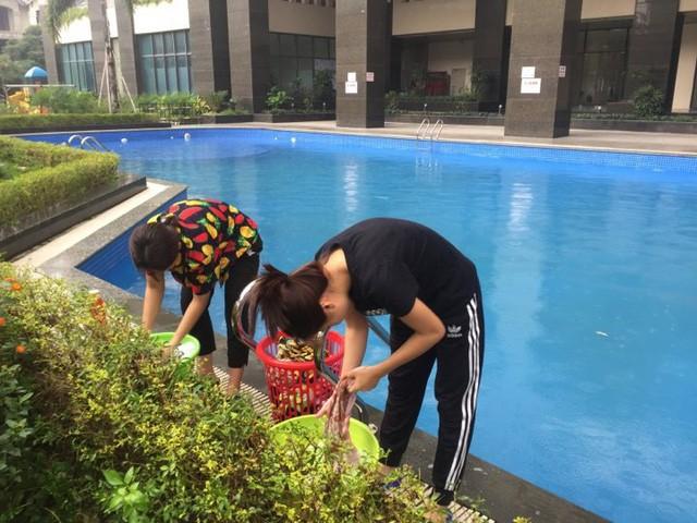 Cư dân mang quần áo giặt giũ, múc nước bể bơi để dùng trong cơn khát ở Hà Nội  - Ảnh 3.