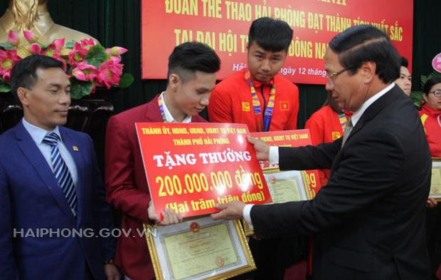 Hải Phòng trao thưởng khủng cho thủ môn Văn Toản và các VĐV đoạt huy chương SEA Games 30: 200 triệu/HCV, 100 triệu/HCB, 50 triệu/HCĐ - Ảnh 2.