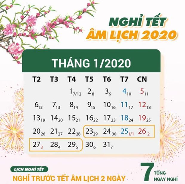 Lịch nghỉ Tết Nguyên đán Canh Tý và nghỉ Tết Dương lịch 2020 chính thức của người lao động, học sinh, giáo viên cả nước - Ảnh 1.