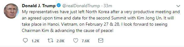 [NÓNG] TT Trump xác nhận gặp ông Kim Jong-un tại Hà Nội, nói Triều Tiên là tên lửa kinh tế - Ảnh 1.