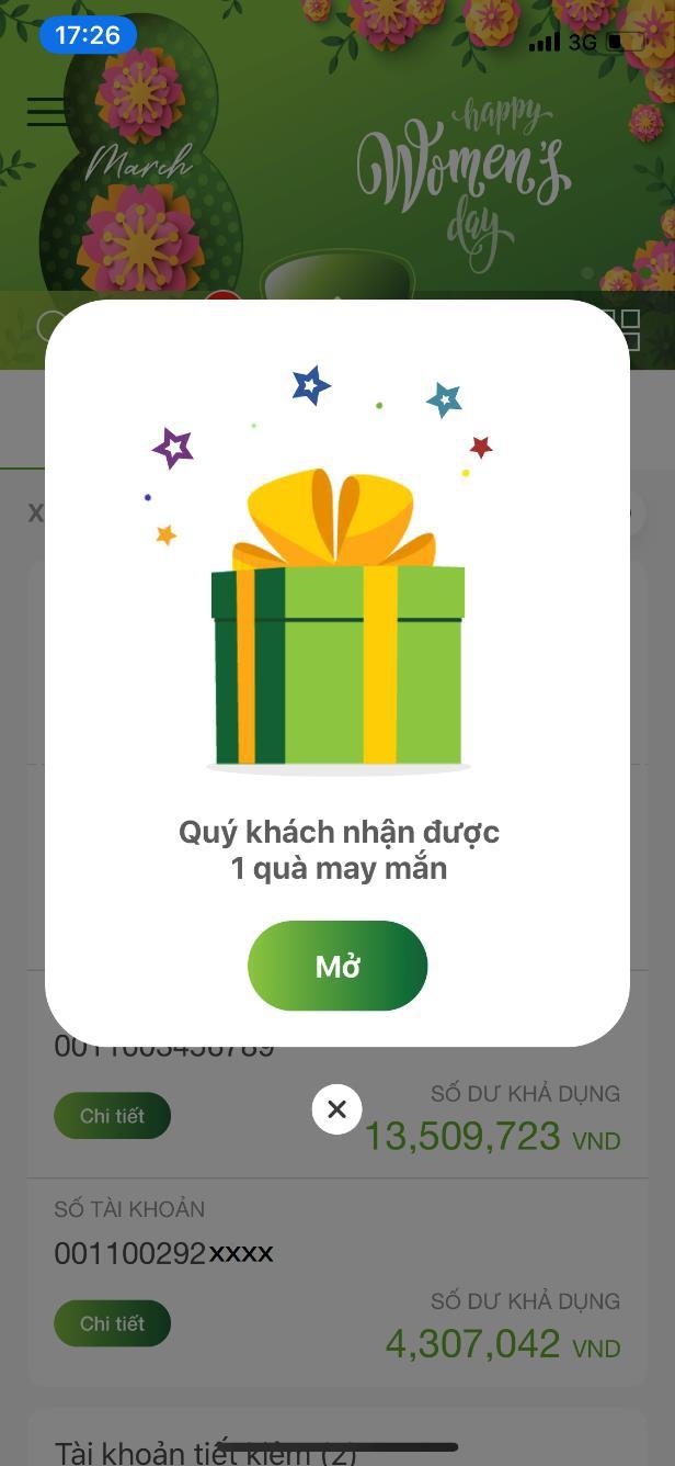 """Vietcombank ra mắt 2 tính năng mới """"Gửi quà may mắn"""" và """"Quản lý tài khoản cá nhân"""" trên VCB-Mobile B@nking - Ảnh 1."""