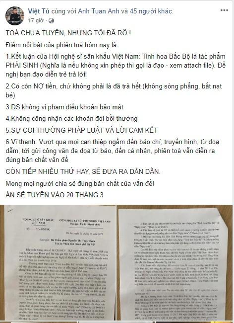 """Đạo diễn Việt Tú: """"Tôi đến toà để đòi lại danh dự, phía doanh nghiệp không sòng phẳng"""" - Ảnh 1."""