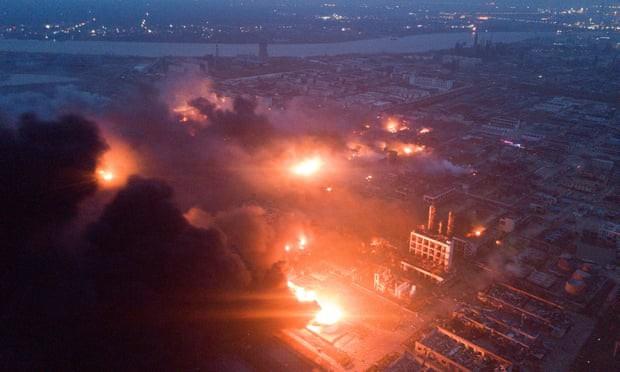 Hiện trường nổ nhà máy hóa chất Trung Quốc khiến gần 700 người thương vong - Ảnh 1.