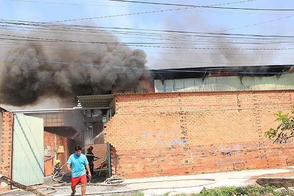 Công ty gỗ ở Bình Dương phát cháy dữ dội - Ảnh 1.