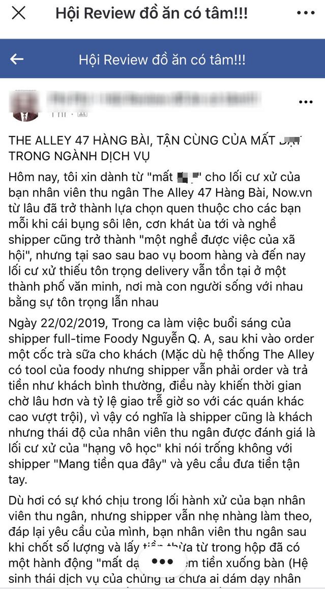 Sau vụ trà sữa The Alley bị tố coi thường shipper, nữ thu ngân kiêm cửa hàng trưởng bị cách chức, chuyển làm nhân viên vệ sinh? - Ảnh 2.
