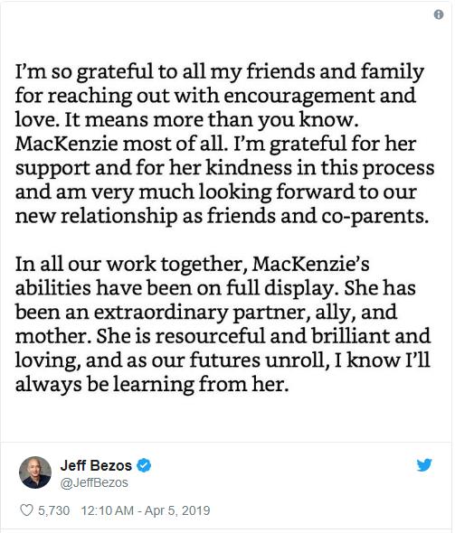 Tỷ phú Jeff Bezos biết ơn vợ cũ sau vụ ly hôn đắt giá nhất thế giới: Tôi luôn học hỏi được nhiều điều từ cô ấy, hy vọng chúng tôi vẫn là những người bạn - Ảnh 1.