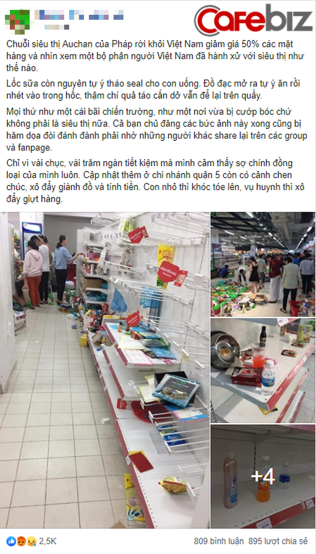"""""""Bãi chiến trường"""" tại siêu thị Auchan: Khách thản nhiên khui đồ ăn, giành giật, không thanh toán… - Miếng ăn là miếng tồi tàn lắm ai ơi! - Ảnh 1."""