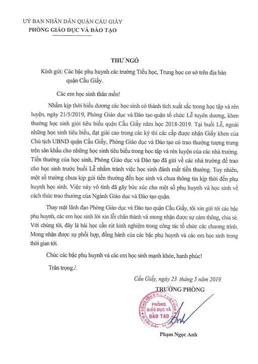 Trưởng Phòng GD&ĐT quận Cầu Giấy gửi thư xin lỗi vụ thưởng học sinh giỏi tờ giấy A4 - Ảnh 1.