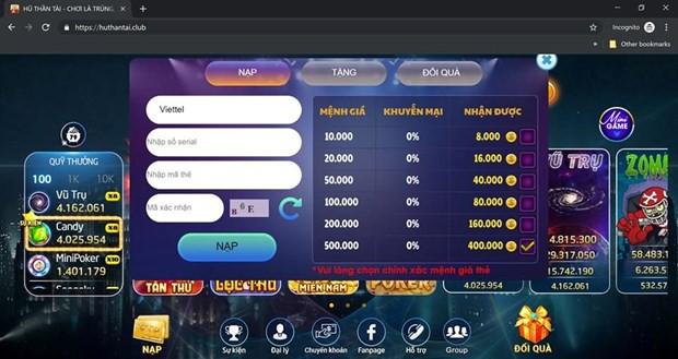 Lại xuất hiện thêm một game cờ bạc trá hình trên Internet  - Ảnh 1.