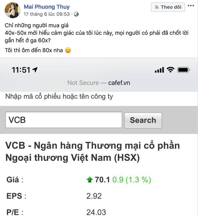"""Hoa hậu Mai Phương Thúy tự nhận """"đầu tư chứng khoán là nghề chính"""", đang thắng lớn với cổ phiếu Vietcombank - Ảnh 2."""