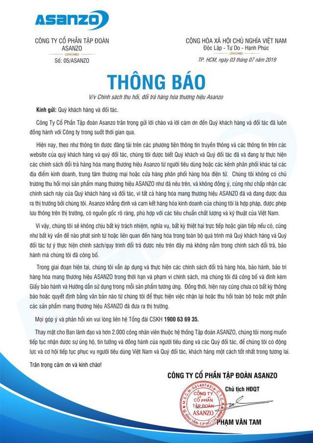 Asanzo phản đối chính sách thu hồi, đổi trả sản phẩm của Điện Máy Xanh, Nguyễn Kim... - Ảnh 2.