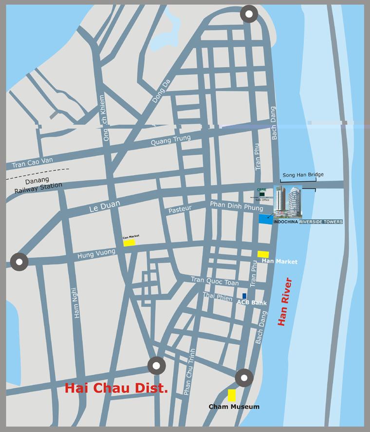 map Tổng quan và quy mô khu phức hợp Indochina Riverside Towers
