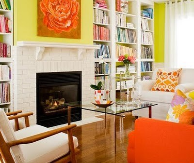Bright Orange And Yellow Living Room