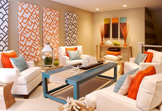 Colorful Coastal Living Room