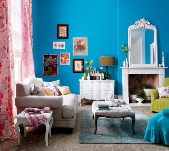 Bright Blue Living Room
