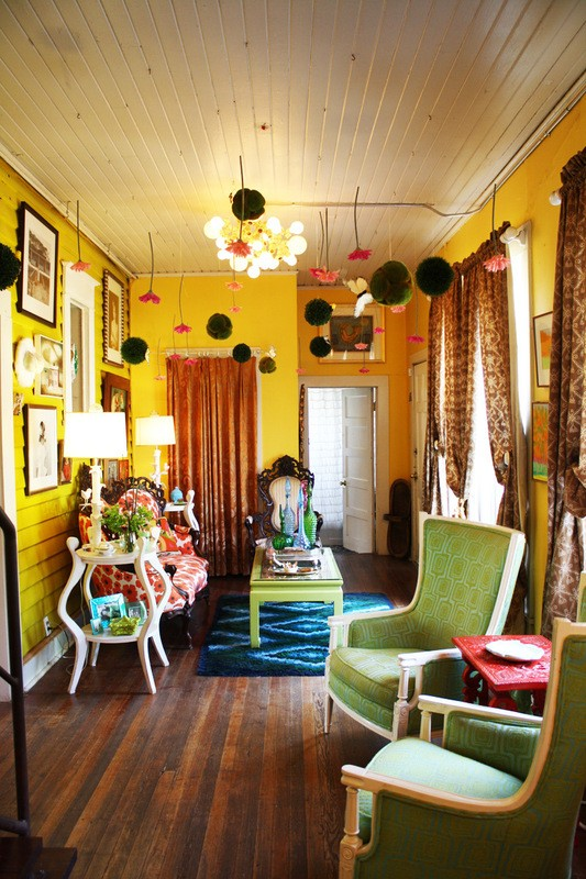Colorful Living Room With Antiques