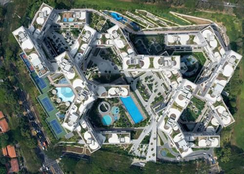 Công trình đẹp nhất thế giới The Interlace nhìn từ trên cao.