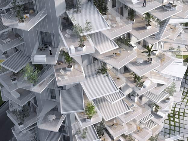 Được thiết kế bởi kiến trúc sư người Nhật Sou Fujimoto. Các tòa nhà sẽ có một hình dáng cong gợi lên hình ảnh của một thân cây, trong khi các ban công của căn hộ được thiết kế xòe ra phía ngoài như những tán lá đang đi tìm kiếm ánh sáng mặt trời.